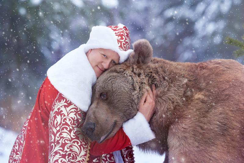Man hugs brown bear in Christmas eve royalty free stock photos