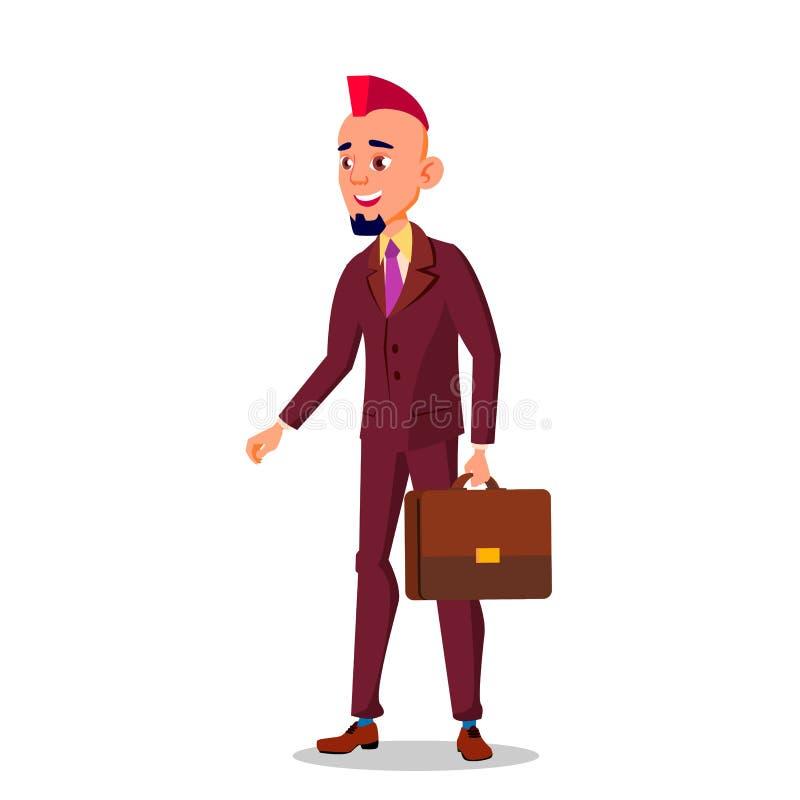 Man i affärsdräkt, med en portfölj i hand och med färg Eroquois på hans illustration för tecknad film för huvudvektor plana vektor illustrationer