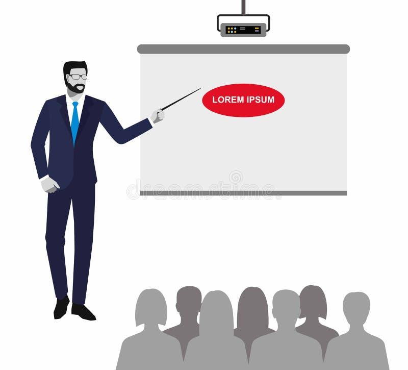 Man i affärsdräkt med pekaren Ett manligt anseende av en projektor som applåderar royaltyfri illustrationer