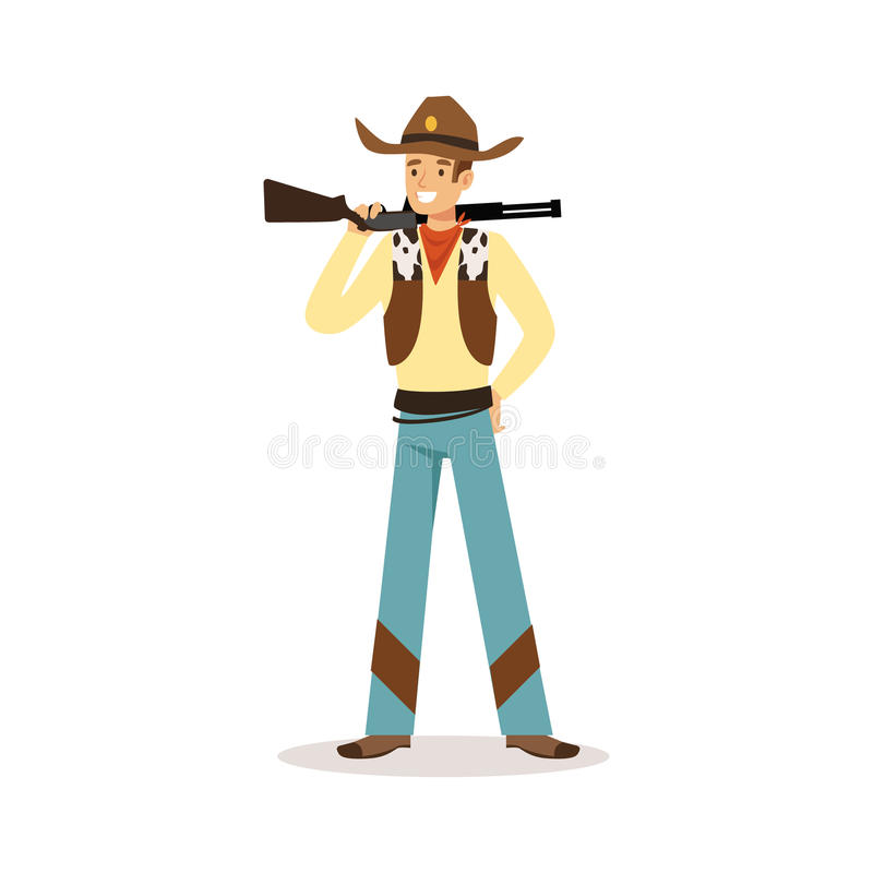 Man i amerikansk traditionell dräkt med för tecknad filmtecken för gevär den västra illustrationen för vektor stock illustrationer
