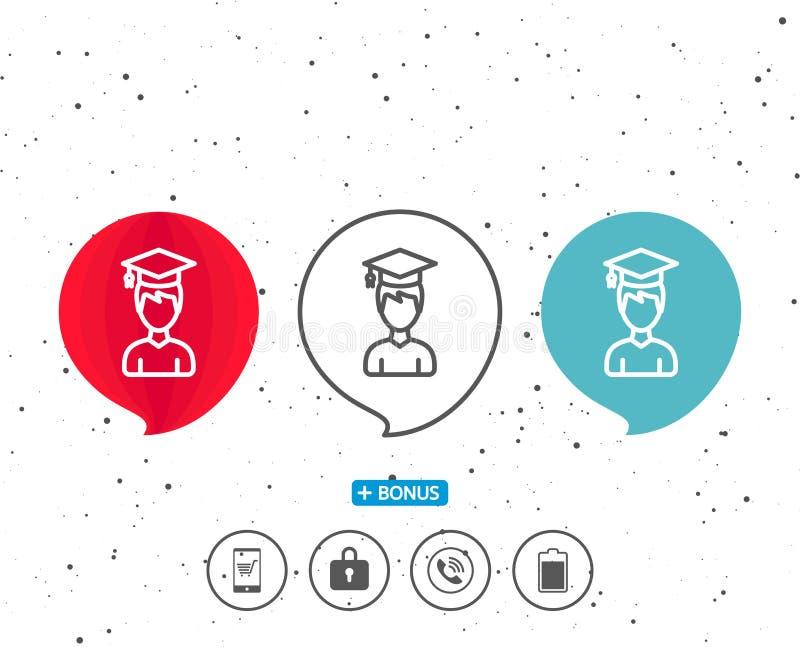 Man i avläggande av examenlocklinjen symbol Utbildning royaltyfri illustrationer