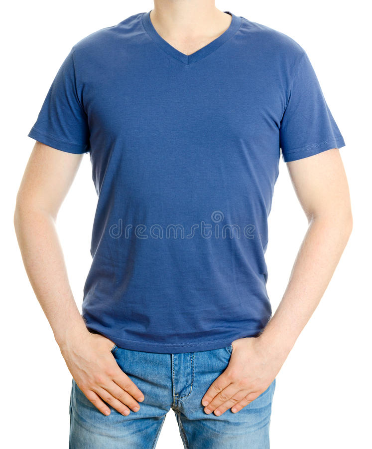 Man i blå t-skjorta royaltyfri fotografi