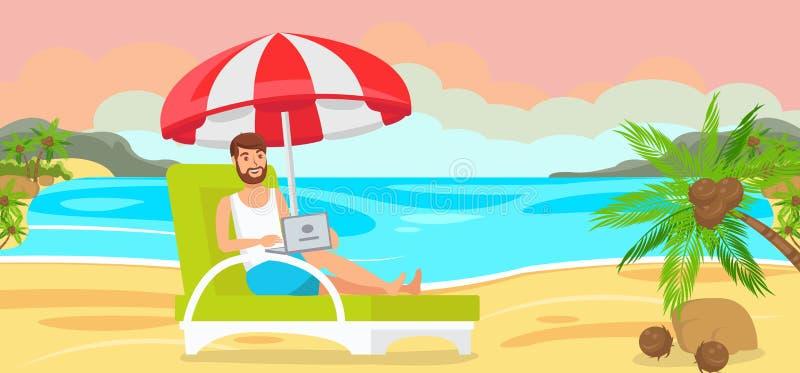 Man i Chaise Longue med bärbara datorn stock illustrationer