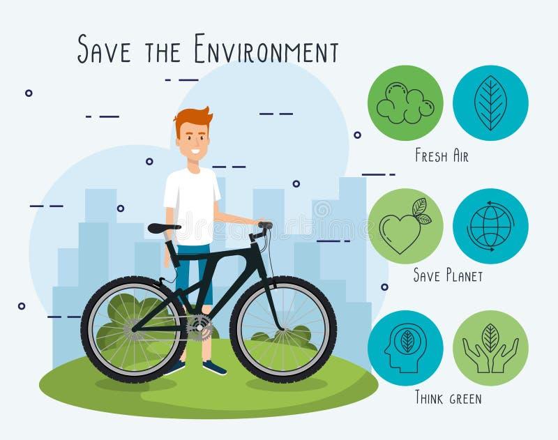 Man i cykel med ecovänskapsmatchsymboler vektor illustrationer