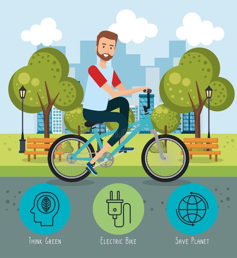 Man i cykel med ecovänskapsmatchsymboler stock illustrationer