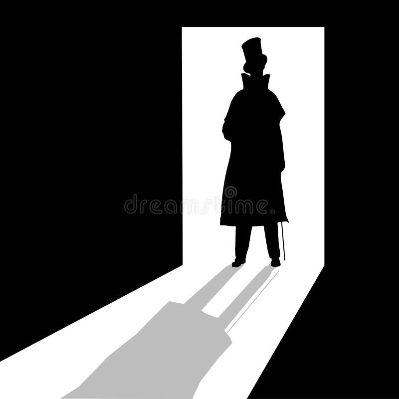 Man i dörröppningen vektor illustrationer