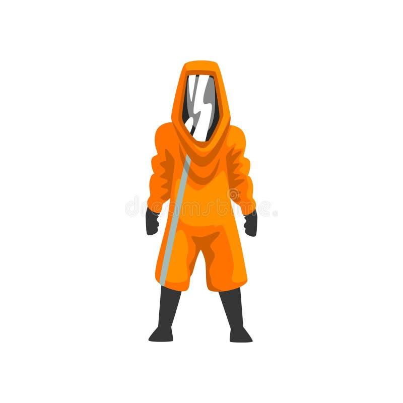 Man i den orange skyddande dräkten, hjälmen och maskeringen, kemisk, radioaktiv, giftlig farlig yrkesmässig säkerhetslikformig royaltyfri illustrationer