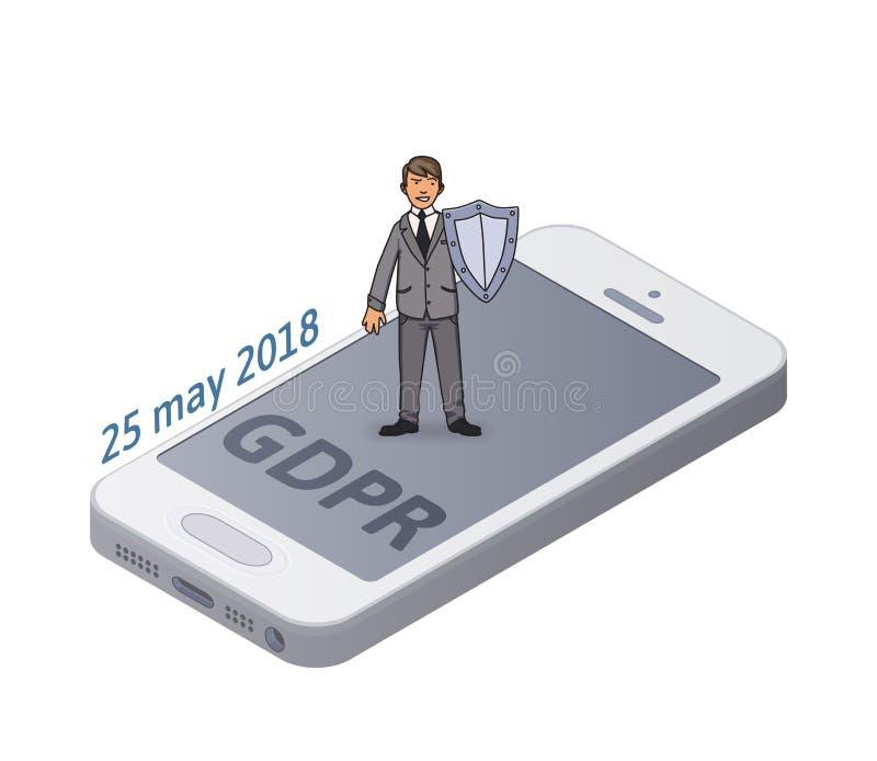 Man i dräkt med en skyddande smartphone för sköld och personliga data GDPR-påbörjandedatum Guld- text på mörk bakgrund GDPR RGPD royaltyfri illustrationer