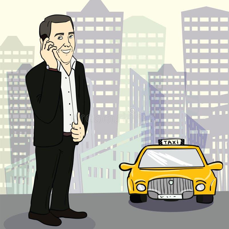 Man i dräkten som fångar taxien på gatan vektor vektor illustrationer