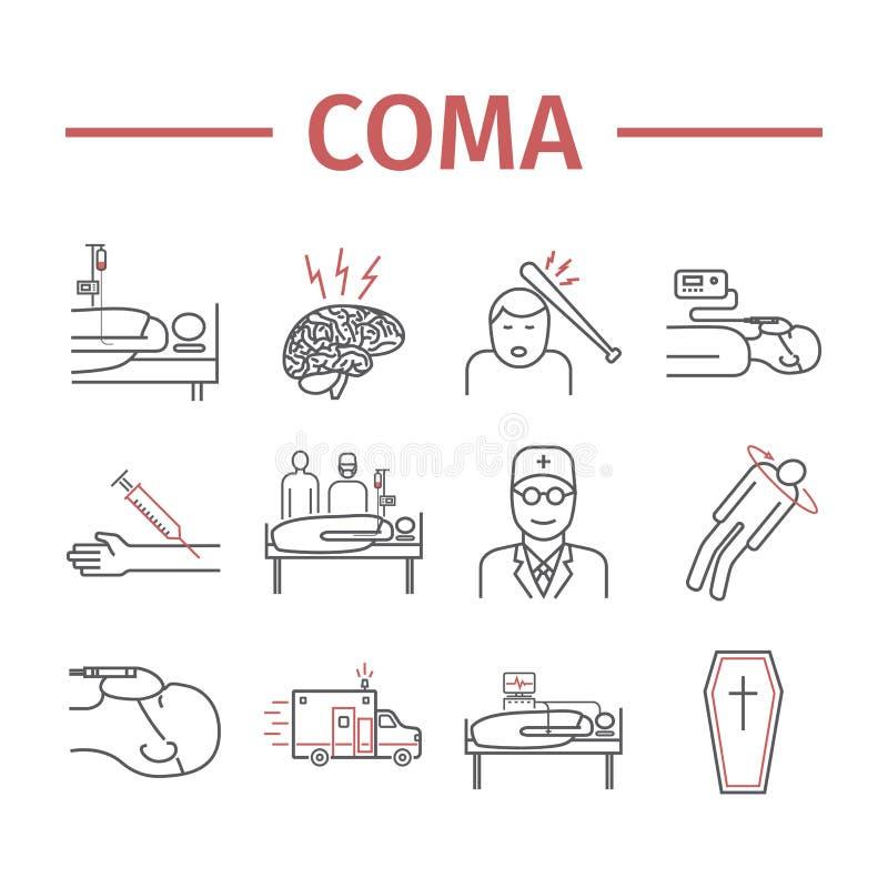 Man i en koma bed den små modern för det gröna sjukhuset nära nyfött s Infographic linje symboler vektor royaltyfri illustrationer