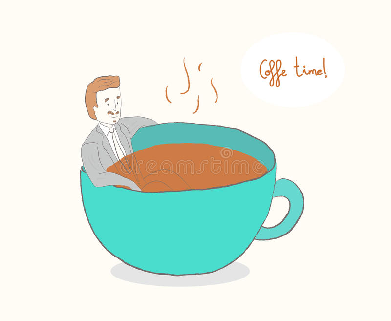 Man i en kopp kaffe stock illustrationer