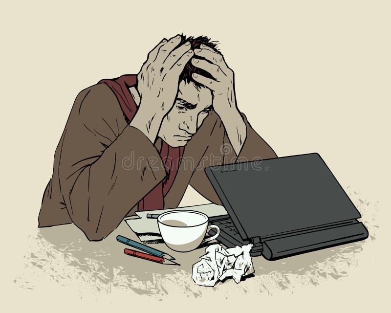Man i förtvivlansammanträde på en dator Huvudvärk royaltyfri illustrationer