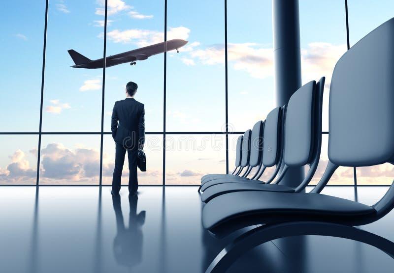 Man i flygplats arkivbilder