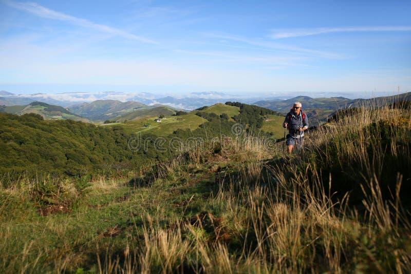Man i härligt landskap av basque landsberg royaltyfri bild