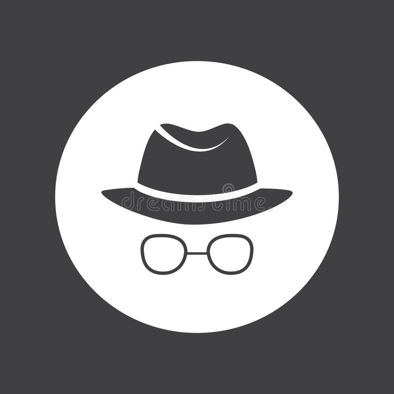man i hatt och exponeringsglas kriminalare spion stock illustrationer