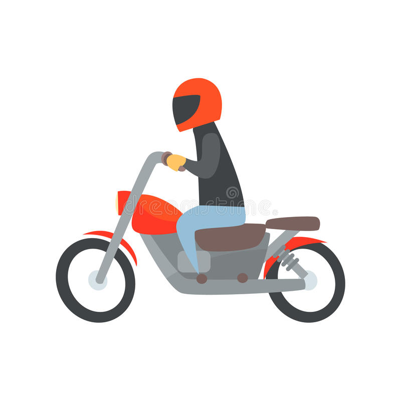 Man i hjälm som rider en illustration för motorcykeltecknad filmvektor vektor illustrationer