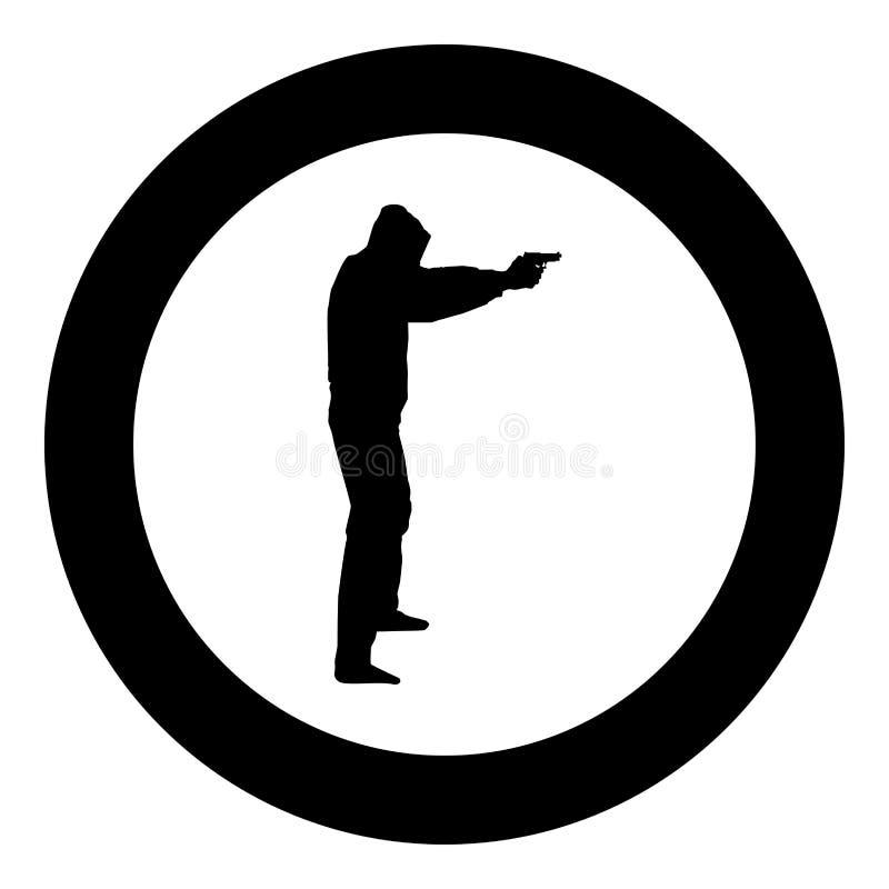 Man i huven med illustrationen för färg för svart för symbol för armar för vapenbegreppsfara den utsträckta i cirkelrunda royaltyfri illustrationer