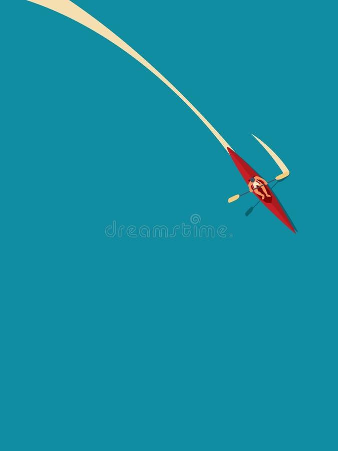 Man i kanot eller kajak som paddlar i vatten, begrepp f?r vektor f?r sommarferie Symbol av rekreation, sport, utomhus- aktiv royaltyfri illustrationer