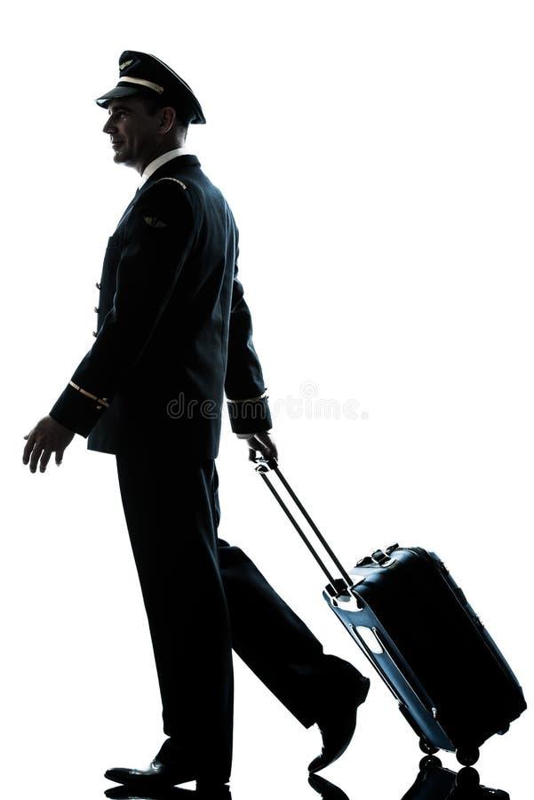 Man i kontur för flygbolagpilotlikformig arkivbild
