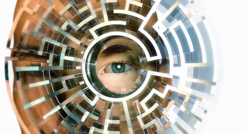 Man i labyrint vektor illustrationer