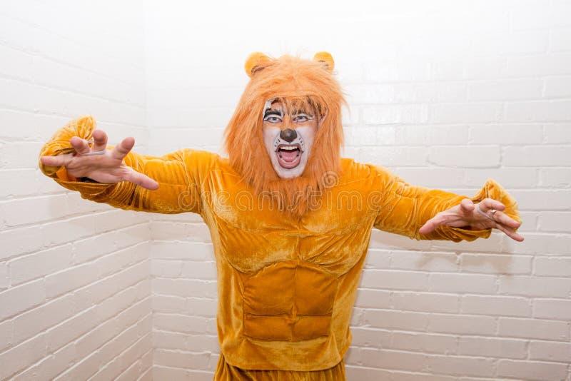 Man i Lion Costume arkivbild