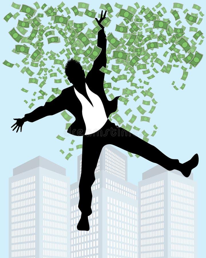 Man i regn av pengar stock illustrationer