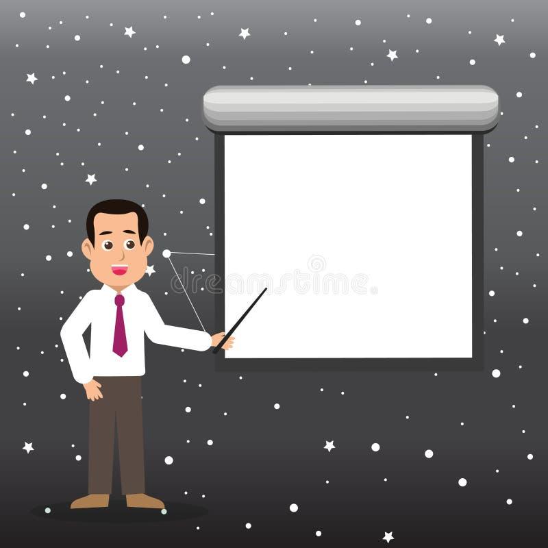 Man i stående talande innehavpinne för slips som pekar för att förbigå den vita projektorskärmen som monteras på väggen idérikt vektor illustrationer