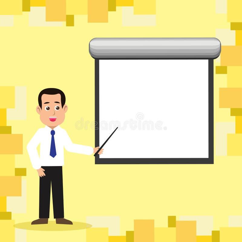 Man i stående talande innehavpinne för slips som pekar för att förbigå den vita projektorskärmen som monteras på väggen idérikt stock illustrationer