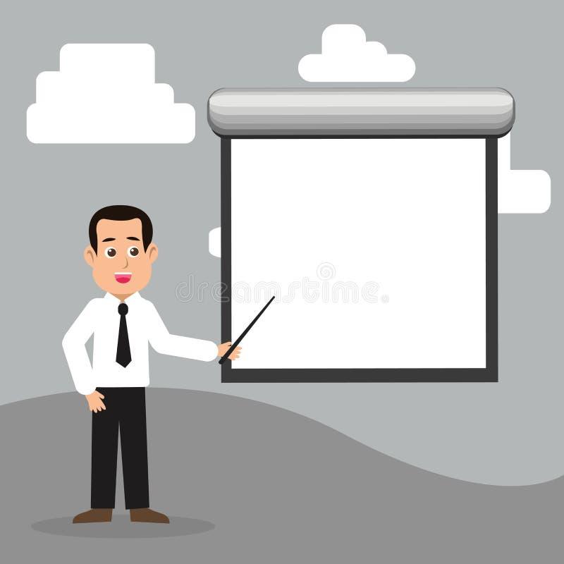 Man i stående talande innehavpinne för slips som pekar för att förbigå den vita projektorskärmen som monteras på väggen idérikt royaltyfri illustrationer