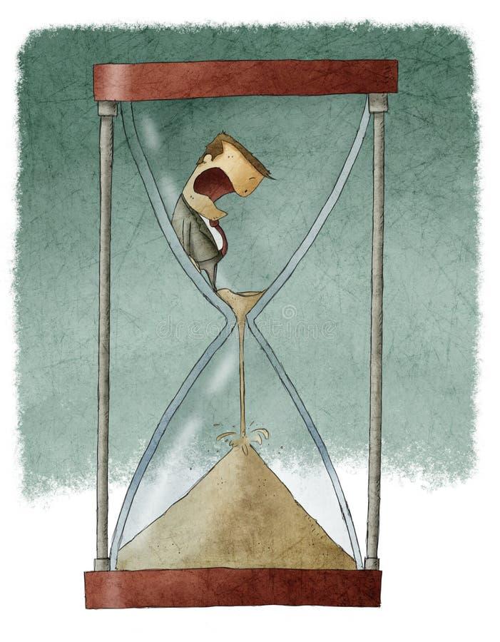 Man i timglas vektor illustrationer