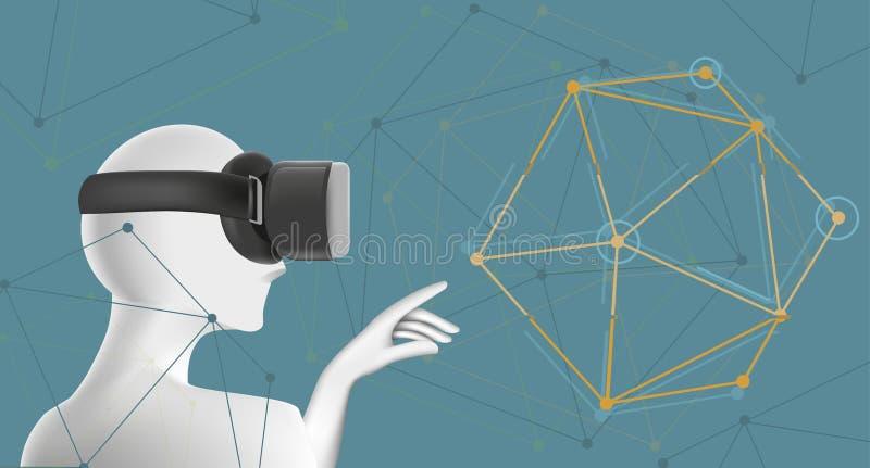 Man i VR-hörlurar med mikrofon Abstrakt virtuell verklighetbegrepp med det geometriska diagramet stock illustrationer