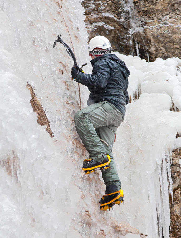 Download Man With Ice Axes And Crampons Stock Photo - Image: 21407556