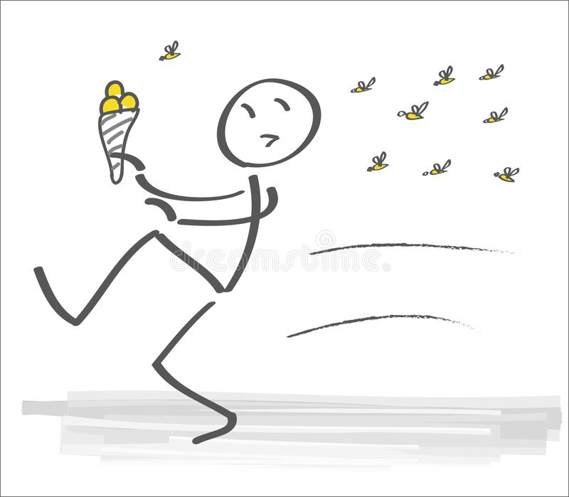 Man with ice cream flees from wasp swarm. Swarm of wasps forces man to flee home. vector illustration royalty free illustration