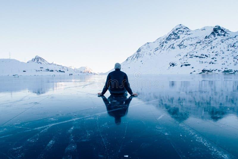 Man on ice stock photo
