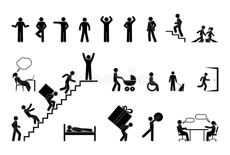 Different situations, pictogram people, stick figure character set royalty free stock images