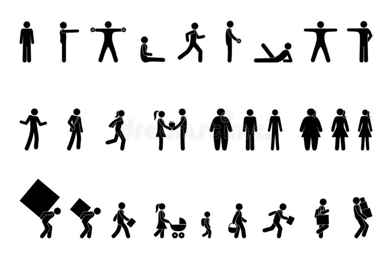 Different situations, pictogram people, stick figure character set stock image
