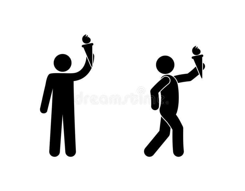 Man icon with a torch, stick figure man pictogram, human silhouette isolated stock illustration