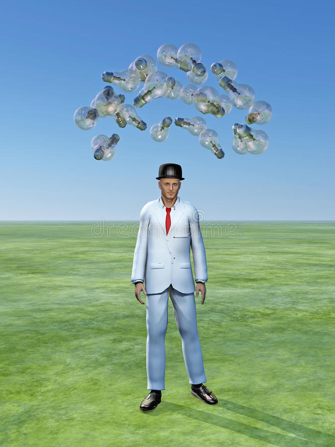 Download Man with ideas above him stock illustration. Image of ideas - 26214442
