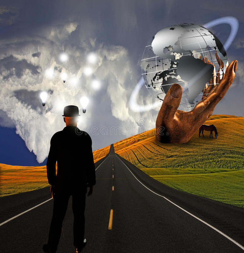 Download Man With Ideas In Landscape With Sculpture Royalty Free Stock Photo - Image: 20454515