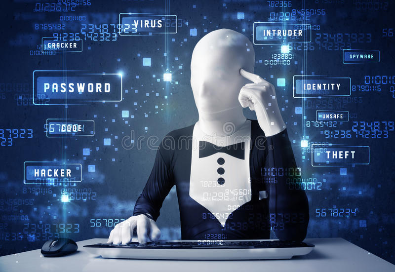 Man without identity programing in technology enviroment with cyber icons. And symbols royalty free stock photography