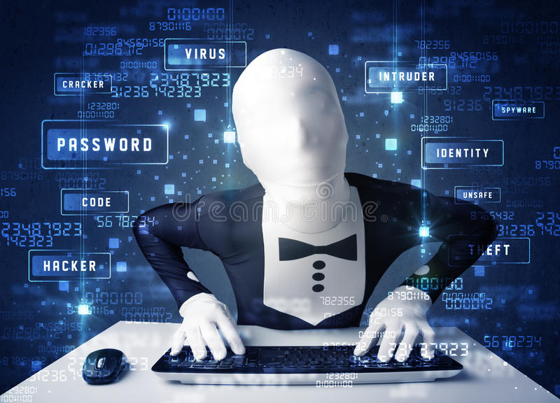 Man without identity programing in technology enviroment with cy. Ber icons and symbols royalty free stock image
