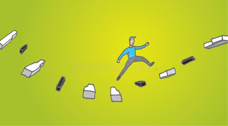 Man improvisation or jamming music. Cartoon illustration of a man jumping across piano keys improvising music vector illustration