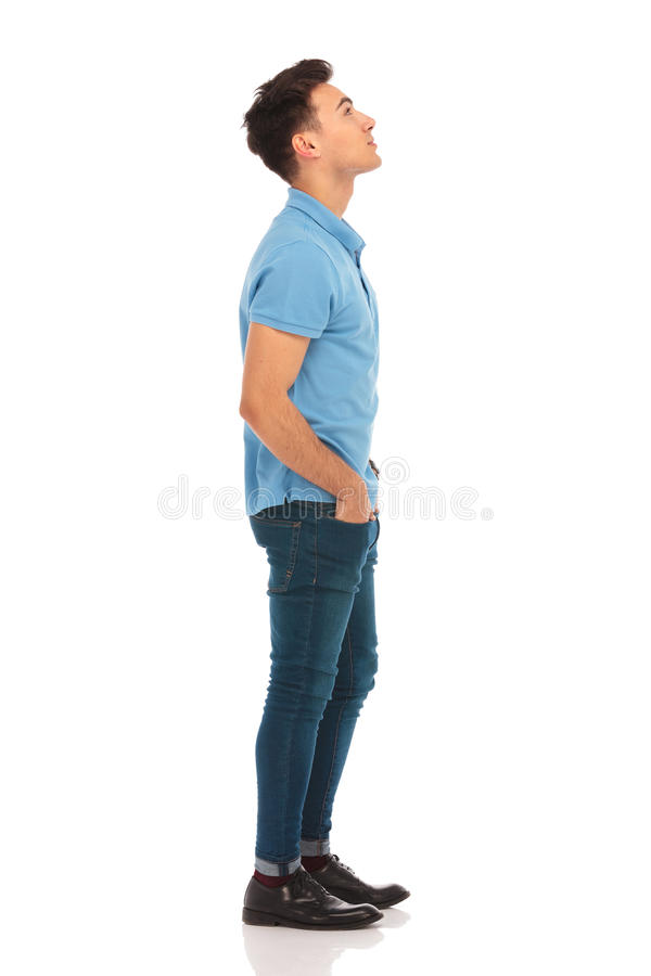 Free Man In Blue Shirt Looking Up Stock Photo - 67832600