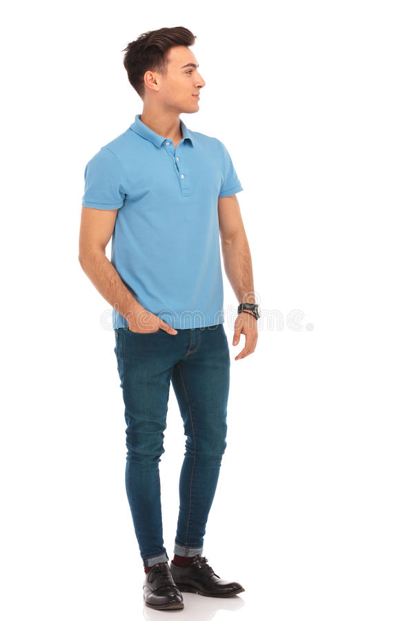 Free Man In Blue Shirt Posing With One Hand In Pocket Royalty Free Stock Photo - 67832675