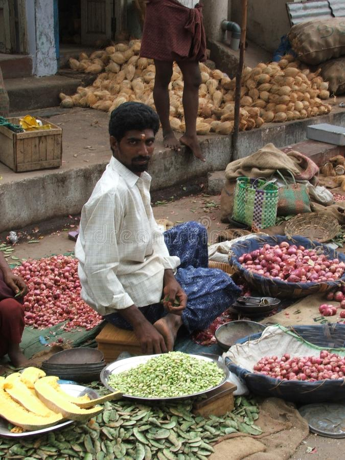 Man in Indian Street Market 2004. A man selling his vegetables in India just days after the tsunami has happened royalty free stock photos