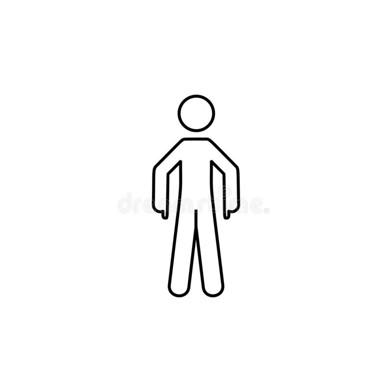 Man indicate, down icon. Element of man pointing finger thin line icon. On white background stock illustration