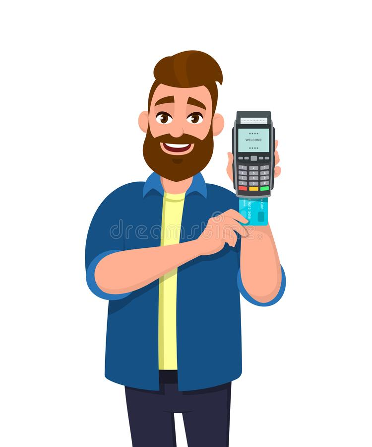Man inserting credit or debit card into POS terminal payment machine. Man holding payment card swipe machine in hand. stock illustration