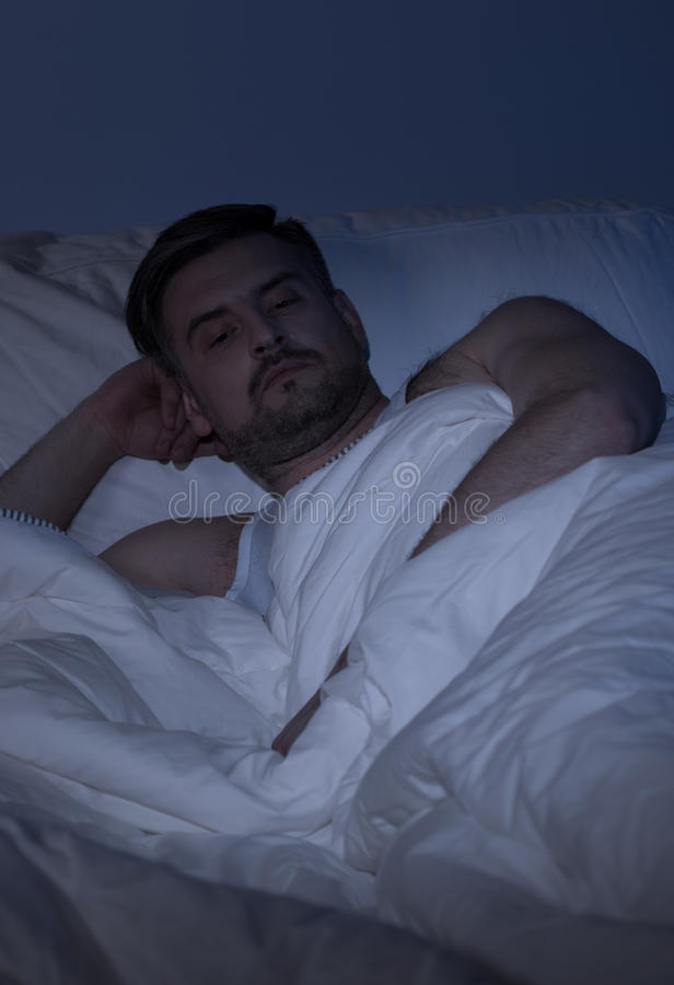 Man with insomnia royalty free stock photos