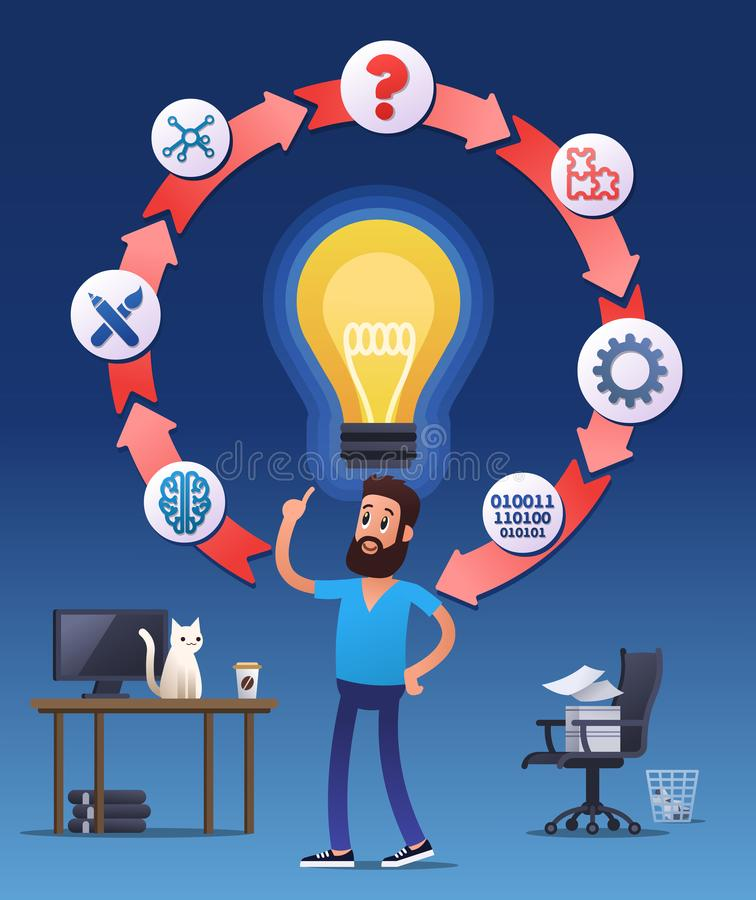 Man with an inspirational new idea royalty free illustration