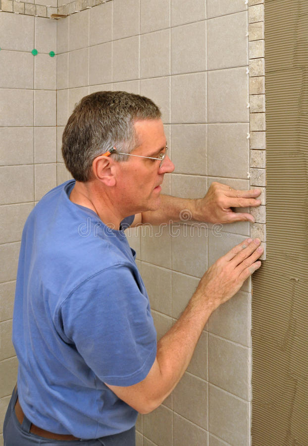 Man Installing Ceramic Tile Border Stock Image Image Of